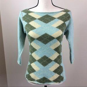 Free People Aqua Green Argyle Sweater Sz Large